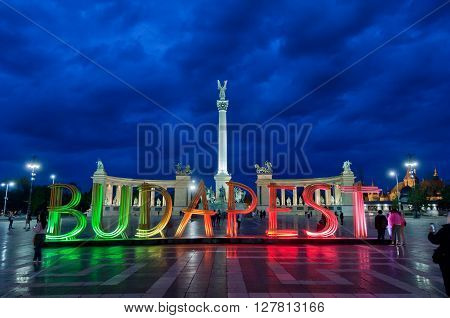 Colorfully lit wooden installation of letters forming the word Budapest on Heroes' Square, on April 15 , 2016 in Budapest, Hungary. The attraction related to and promote Budapest Spring Festival.