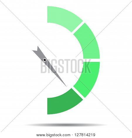 Indicator green with pointer needle. Index pointer arrow and car indicator measure spectrum pointer power panel. Vector flat design illustration