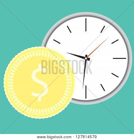 Money and time concept. Time budget and earning finance. Vector flat design illustration
