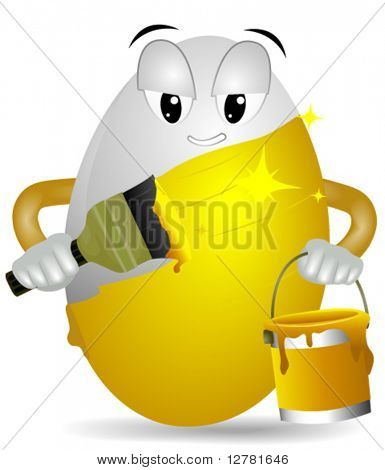 White Egg painting itself Gold - Vector