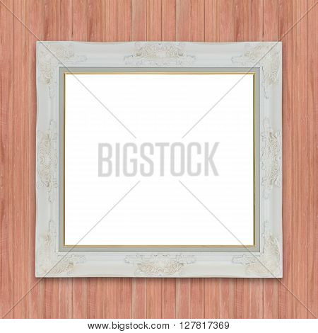 wooden photo frame on Old wood background
