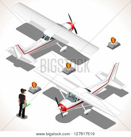 Ultralight Airplane. Vector aircraft. Flat 3D Isometric planes. Aeroplane Object. Isometric Vehicles. Infographic elements
