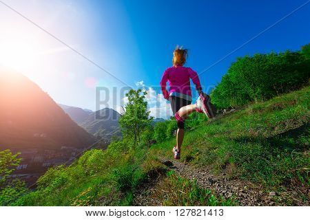Jogging Through The Countryside On The Mountain Path Girl