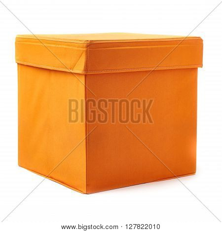 Orange foot stool ottoman pouffe over isolated white background poster
