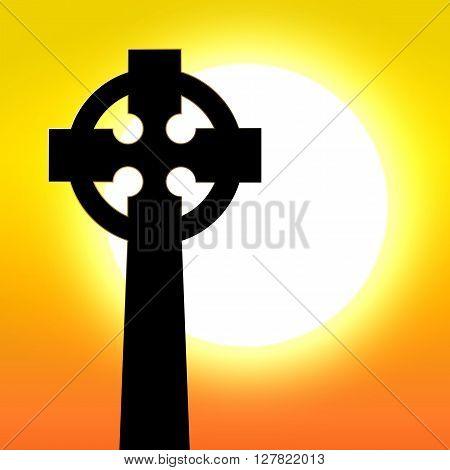 Celtic cross in front of sunset vector illustration
