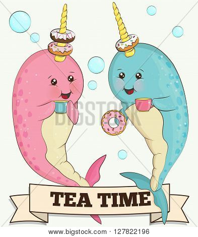 Sweet illlustration of two cute narwhal unicorn fish animals drinking tea with doughnuts in he ocean surrounded by bubbles.