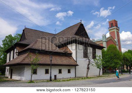 Kezmarok, Slovakia - May 15, 2013: Protestant wooden church ( Dreveny Artikularny Kostol )- UNESCO World Heritage Site Slovakia