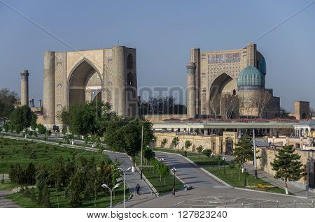 Panorama Of Large Complex Of Bibi-khanym Mosque With The Beautiful Bright Blue Domes, Rich Mosaic De