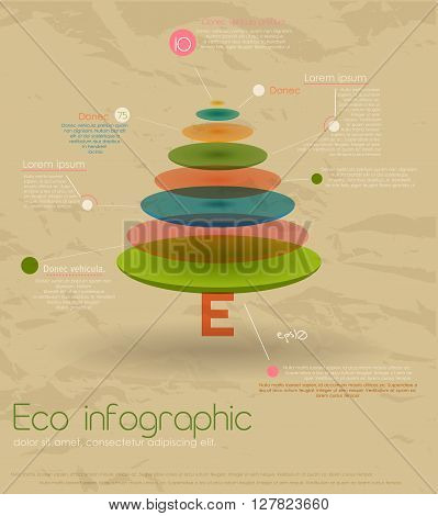 Vintage eco infographic with fir-tree. Vector illustration EPS10