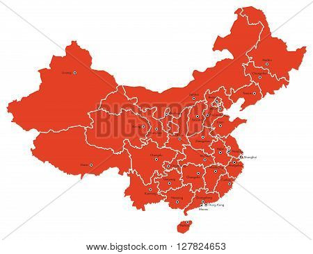 Vector graphic outline map of The Peoples Republic of China with provinces and cities.
