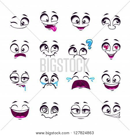 Set of funny cartoon vector comic faces, different emotions, isolated on white, design elements, different feelings avatars