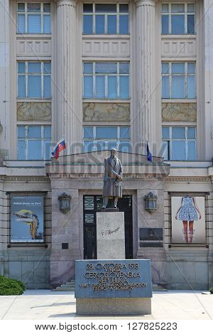 BRATISLAVA SLOVAKIA - JULY 10: Masaryk Monument in Bratislava on JULY 10 2015. Bronze statue of Tomas Garrigue Masaryk in front of Slovak National Museum in Bratislava Slovakia.
