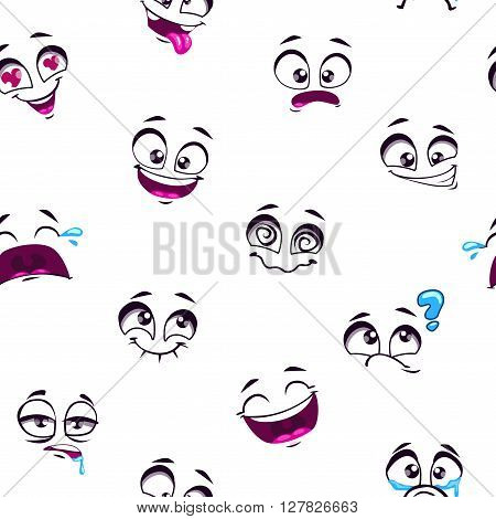 Seamless pattern with funny cartoon emoticons faces on white background, comic faces wallpaper, cartoon smiley face background