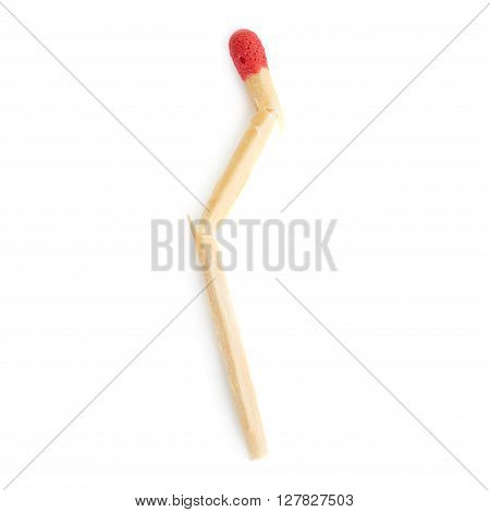 Broken Wooden unused match isolated over the white background