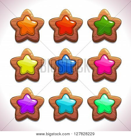Cartoon wooden stars with colorful middles set, vector game or web design elements, GUI assets, abstract star symbol icons, star object for game UI