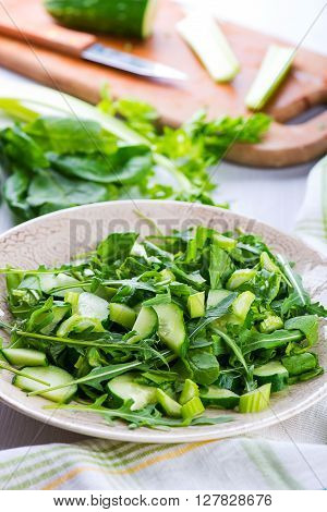 Green Salad With Onions, Ruccola, Celery, Spinach