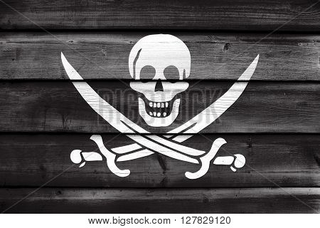 Calico Jack Pirate Flag, Painted On Old Wood Plank Background