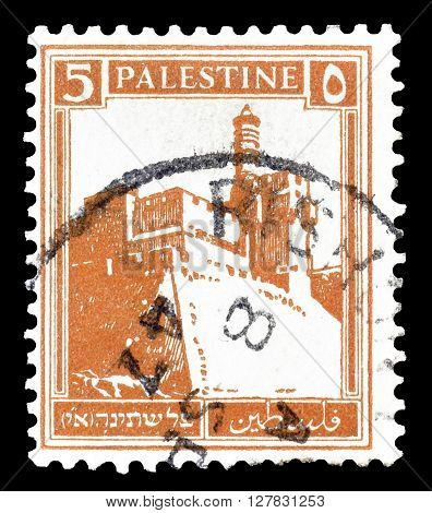 PALESTINE - CIRCA 1927 : Postage stamp printed by Palestine, that shows Citadel at Jerusalem.