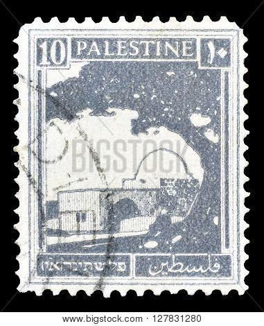 PALESTINE - CIRCA 1927 : Postage stamp printed by Palestine, that shows Rachel's Tomb.