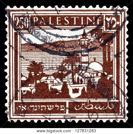 PALESTINE - CIRCA 1927 : Postage stamp printed by Palestine, that shows official stamp with Tiberias and the Sea of Galilea.