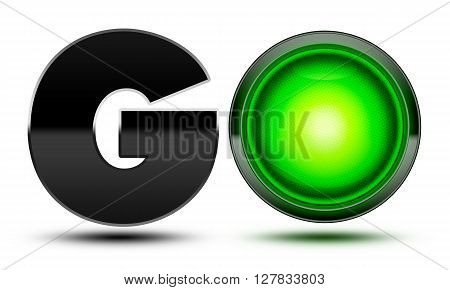 3D Illustration of Bright green traffic light used to make the word go! Concept for starting going moving forward and beginning your journey!
