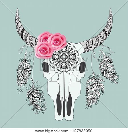 Hand drawn decorated cow skull with mandala rouses and feathers isolated on grey background. Boho style. Image for tattoo labels decorate shirts dresses bags tunics. EPS 10.
