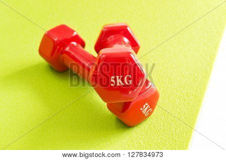 Concept of healthy lifestyle with red dumbbells on a green fitness mat