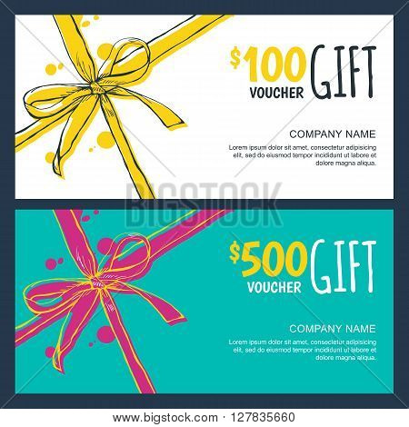Vector Gift Vouchers With Bow Ribbons, White And Blue Backgrounds.