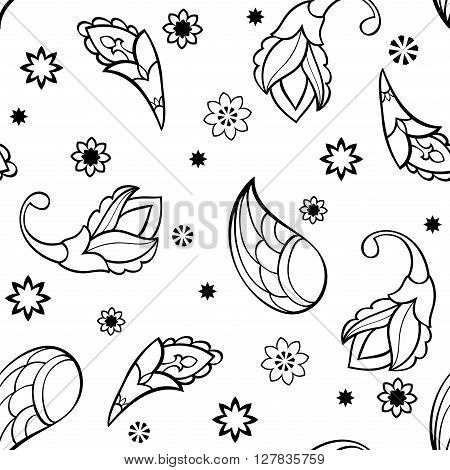 Ornament with stylized cartoonish elements. Vector seamless pattern with wings stars and flowers. Template for textile linen wrapping wallpaper.