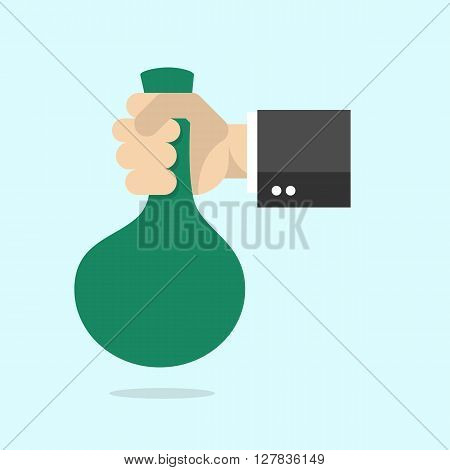 Hand with a bag of money. Flat design style modern vector illustration - stock vector