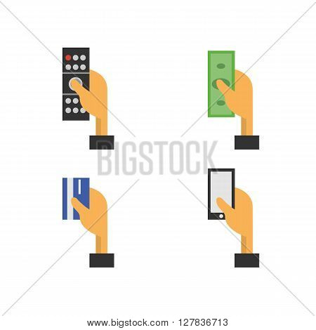 Set of hand with a telephone, hand with money, hand with a remote control, hand with a credit card. Flat design concept. Flat icons design. Illustration on a white background - stock vector