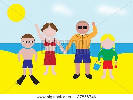 Illustration of a family enjoying themselves on a beach holiday