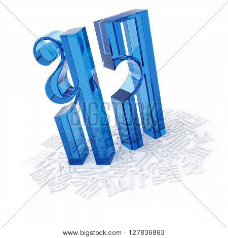 3D object from the glass on a white cyrillic letters