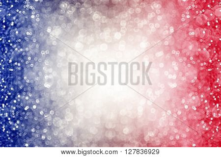Abstract patriotic red white and blue glitter sparkle burst background