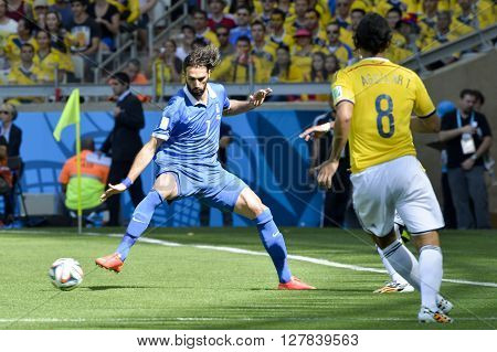 BELO HORIZONTE BRAZIL - June 14 2014: Georgios SAMARAS of Greece during the 2014 World Cup. Colombia is facing Greece in the Group C at Minerao Stadium