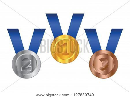 Vector stock of three competition medals gold silver and bronze