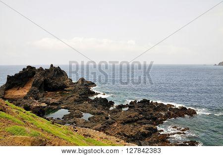 Lava Mountain In The Ocean