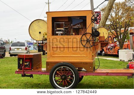Somers Point, New Jersey - USA  April 30, 2016   A no man band trailer playing music.