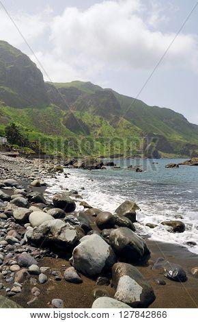 Rocks On A Black Sand Beach In Faja D'agua