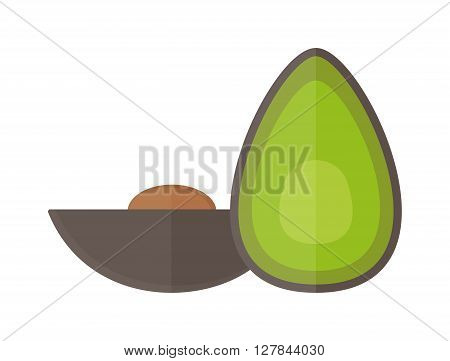 Avocado pieces set isolated on white background design element organic food vector. Organic avocado and green avocado. Vegetable avocado healthy food. Fresh vegetarian half tropical avocado.