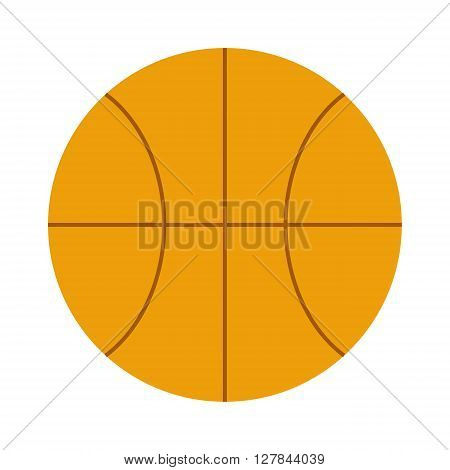 Activity leisure basketball ball and sport basketball ball symbol. Team game basketball ball. Orange basketball ball sport equipment competition sphere play game symbol flat vector illustration.