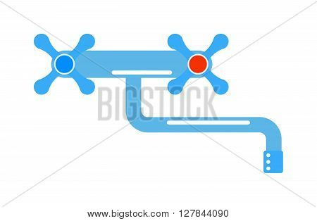 Dripping tap drop water faucet vector illustration. Icon of traditional water faucet tap with knobs. Traditional water faucet tap with knobs. Water faucet bathroom equipment. Kitchen water faucet.