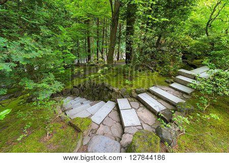 Granite stone stair steps at Japanese Garden in lush green landscape