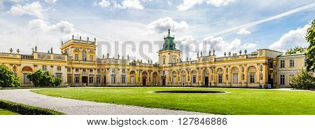 WARSAW POLAND - JUNE 1: Panorama of the Wilanow Palace or Wilanowski Palace with park in Warsaw Poland on June 1 2014