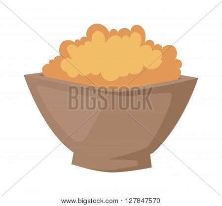 Buckwheat plate in bowl isolated on white background. Buckwheat plate brown healthy food and buckwheat plate dinner. Buckwheat plate vegetarian groats breakfast. Gourmet buckwheat plate.