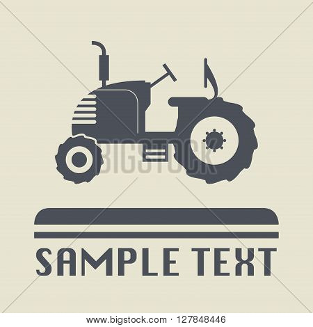 Tractor abstract icon or sign, vector illustration