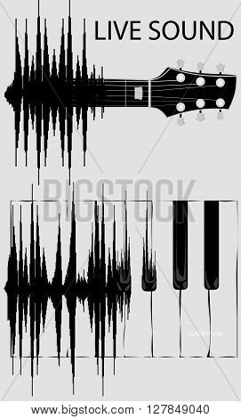 Sound wave transformation in keyboard of piano and fretboard guitar. Sound wave evolution. Born of Sound Wave. Concept background.