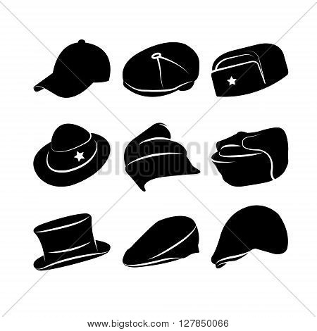 Vector Collection of Vintage Hats. Vector illustration. Eps 10