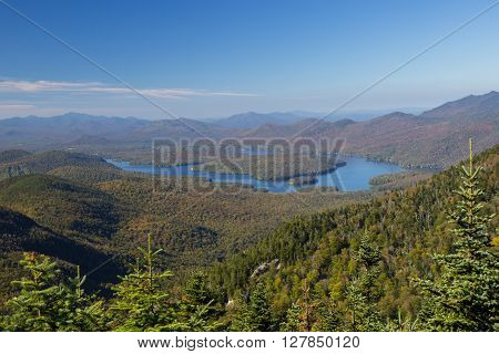 Lake Placid view from top of Whiteface Mountain, New Tork, USA ** Note: Soft Focus at 100%, best at smaller sizes