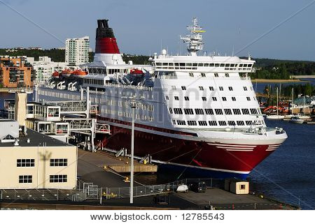 A cruise ship in a port